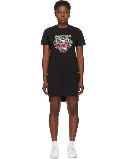 KENZO ブラック ショート Tiger T シャツ ドレス Black