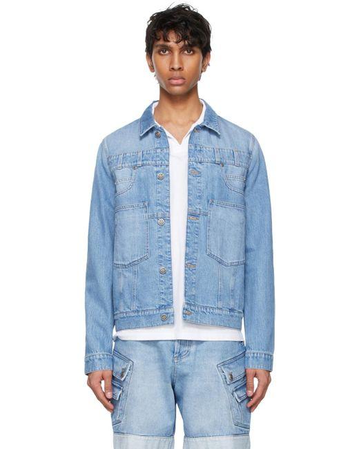 メンズ Balmain ブルー デニム ジャケット Blue