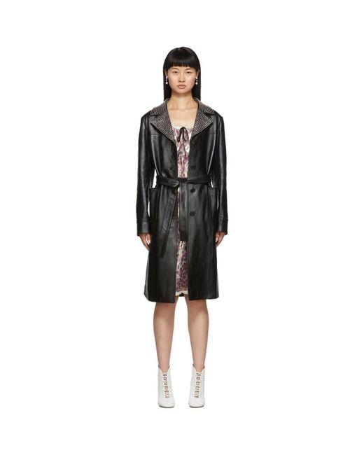 Miu Miu ブラック レザー クリスタル カラー トレンチ コート Black