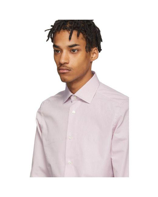 Chemise blanche et rose Camicia Trofeo Ermenegildo Zegna pour homme en coloris Pink