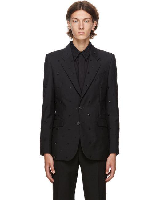 メンズ Givenchy ブラック エンブロイダリー イブニング ブレザー Black