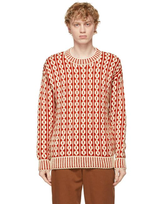 メンズ Bode レッド & オフホワイト Dutchess セーター Red