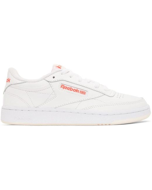 Reebok White & Red Club C 85 Sneakers