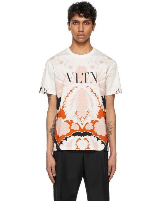 メンズ Valentino ホワイト & ピンク Vltn T シャツ White
