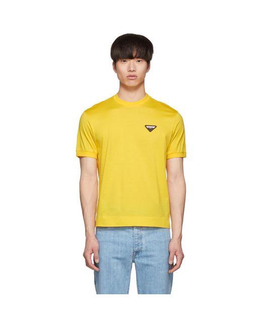 メンズ Prada イエロー Wire Of Scotland T シャツ Yellow