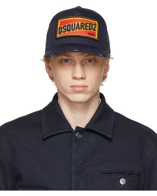 メンズ DSquared² ネイビー ロゴ パッチ キャップ Blue