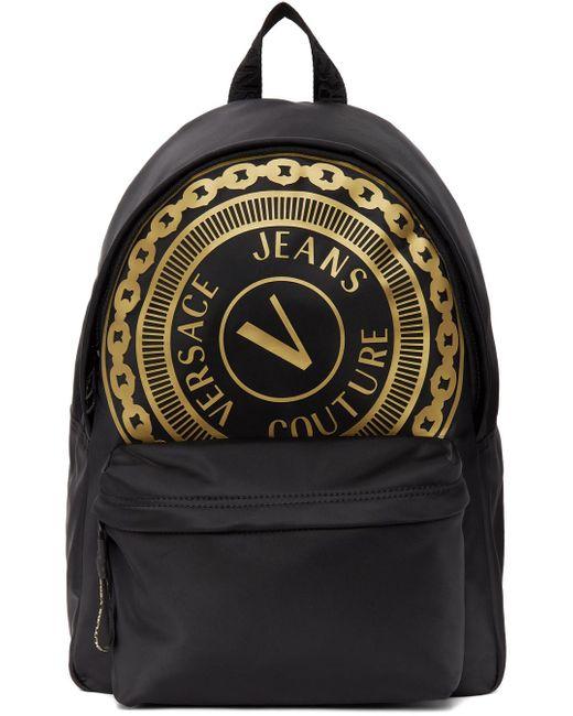 メンズ Versace Jeans ブラック Barocco ロゴ バックパック Black