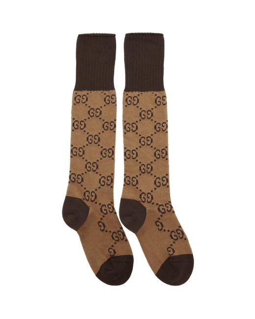 Gucci Natural Brown And Beige GG Long Socks