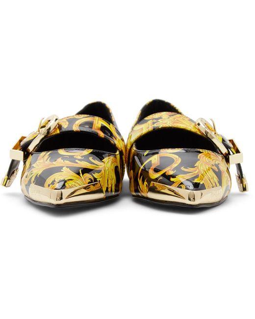 Versace Jeans ブラック & ゴールド Audrey バレリーナ フラット Multicolor