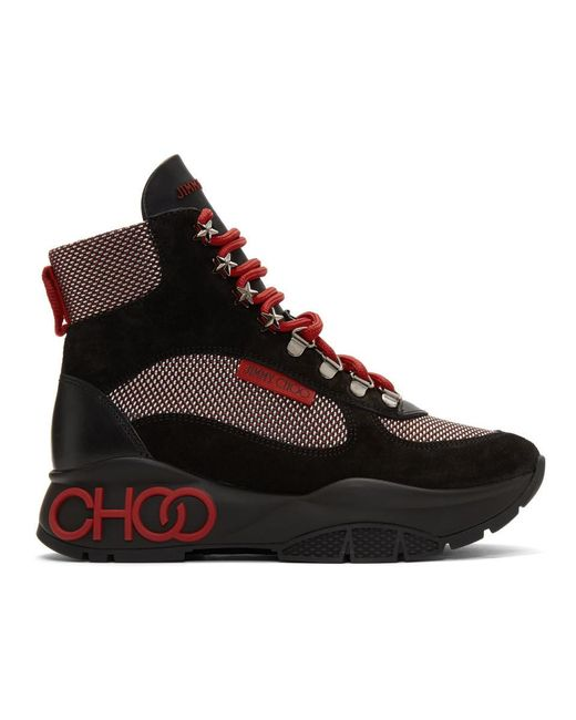 Jimmy Choo ブラック And レッド Inca ブーツ Red
