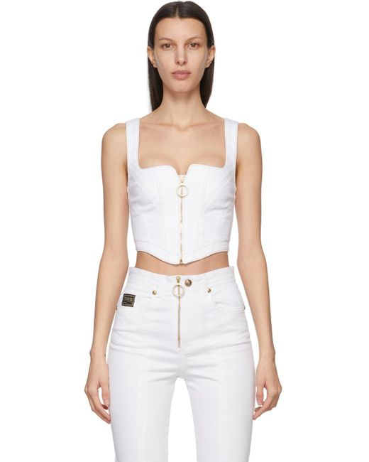 Versace Jeans ホワイト Corset タンク トップ White