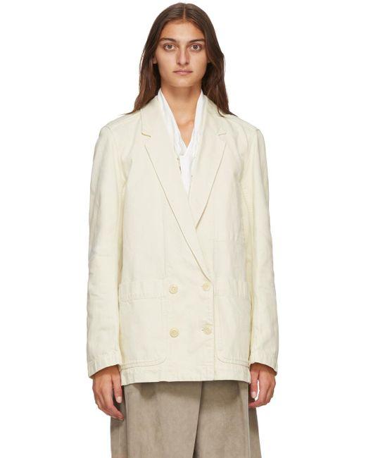 Lemaire オフホワイト デニム ダブルブレスト ジャケット White