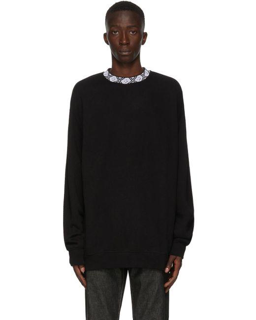 メンズ Acne ブラック モチーフ モック ネック スウェットシャツ Black