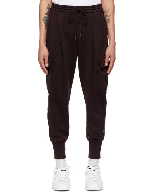 メンズ Dolce & Gabbana バーガンディ ロゴ パッチ ジョギング カーゴ パンツ Black