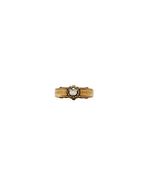 Alexander McQueen - Metallic Gold Engraved Skull Ring for Men - Lyst