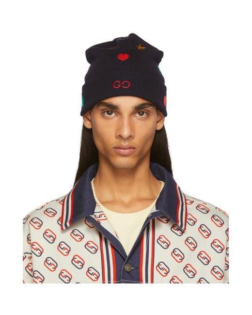 Bonnet bleu marine Symbols Gucci pour homme en coloris Blue