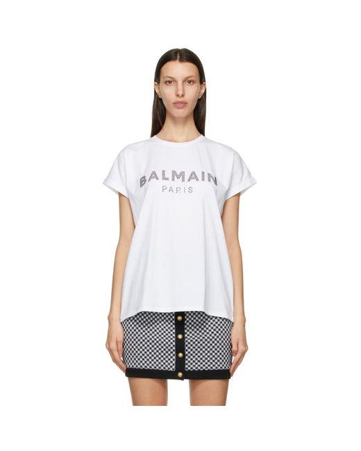 Balmain ホワイト ロゴ T シャツ White