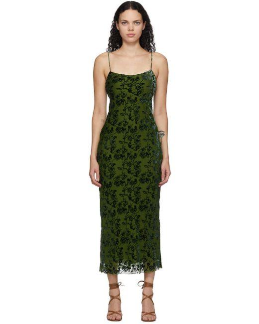 Marina Moscone グリーン ベルベット Burnout バイアス スリップ ドレス Green