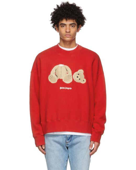 メンズ Palm Angels レッド Bear スウェットシャツ Red