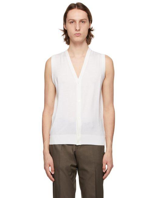 メンズ Isaia オフホワイト Sweater ベスト White