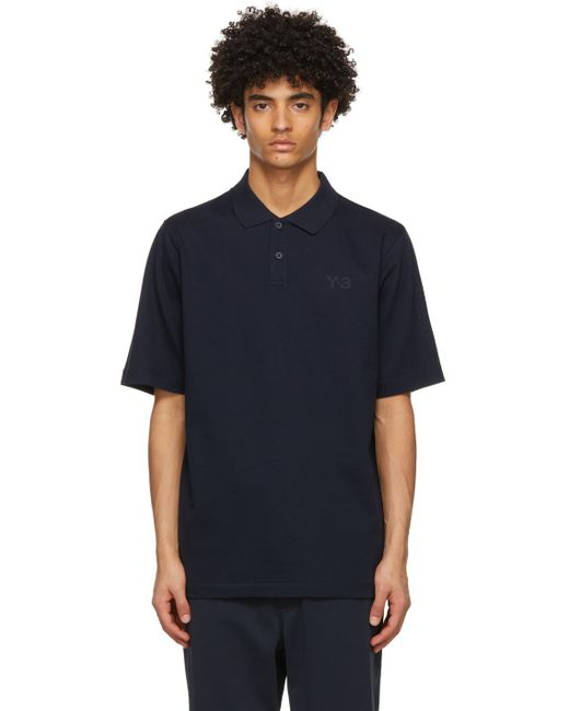 メンズ Y-3 ネイビー Classic ロゴ ポロシャツ Blue