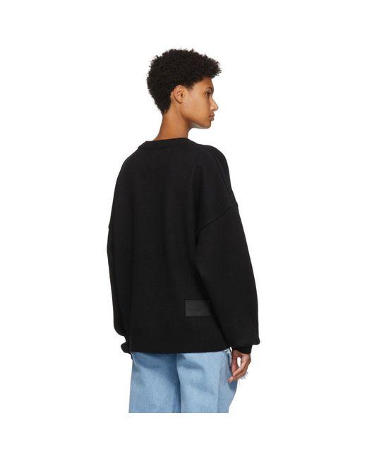 we11done ブラック ウール ジャカード ロゴ セーター Black