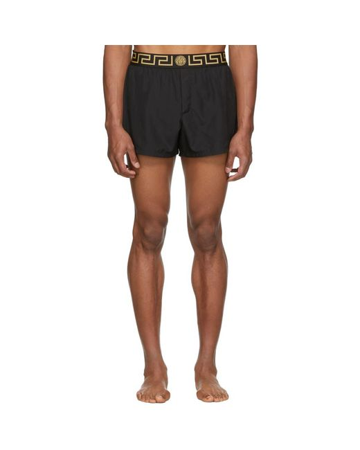 Versace Black Greek Key Border Swim Shorts for men