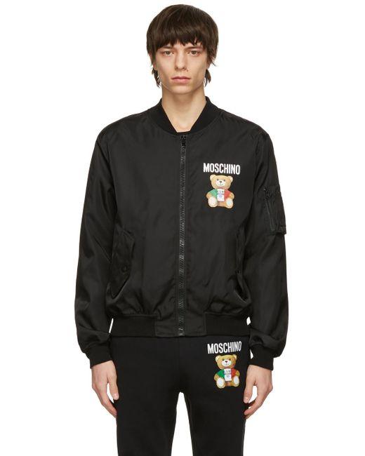 メンズ Moschino ブラック Italian Teddy Bear ボンバー ジャケット Black
