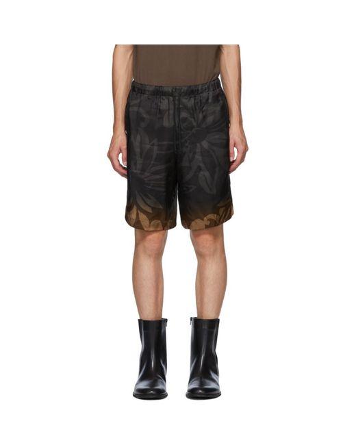 メンズ Dries Van Noten ブラック And ブラウン フラワー ドローストリング ショーツ Black