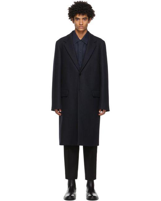 メンズ Jil Sander ネイビー Essential コート Blue