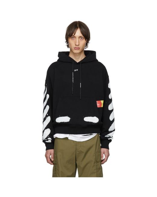 Off-White c/o Virgil Abloh Ssense Exclusive Black Incomplete Spray Paint Hoodie for men