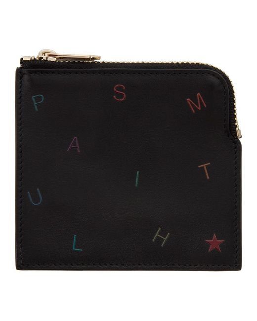 メンズ Paul Smith ブラック Letters ジッパー カード ホルダー Black
