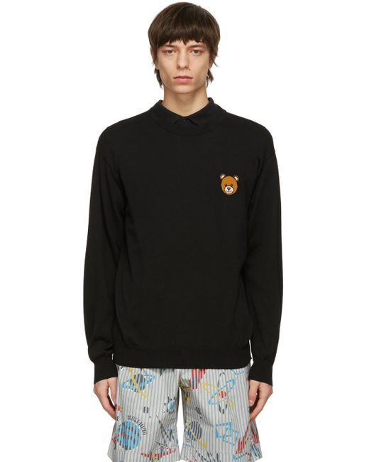 メンズ Moschino ブラック Teddy セーター Black