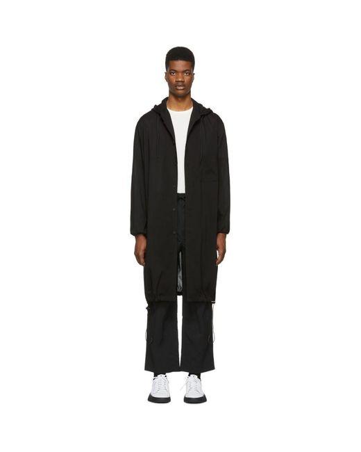 メンズ Y-3 ブラック フード ロング シャツ Black