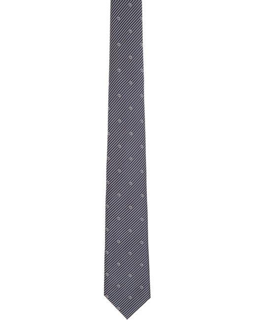 メンズ Giorgio Armani ネイビー ストライプ ロゴ ネクタイ Blue