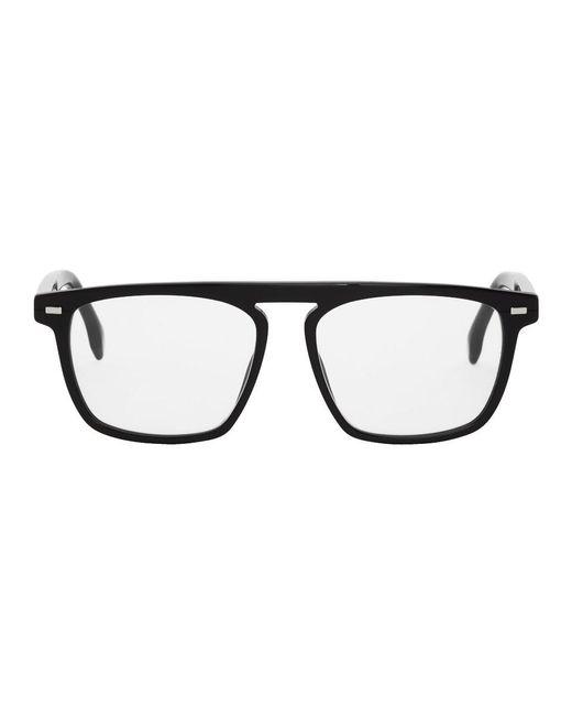 メンズ BOSS ブラック レクタンギュラー メガネ Black