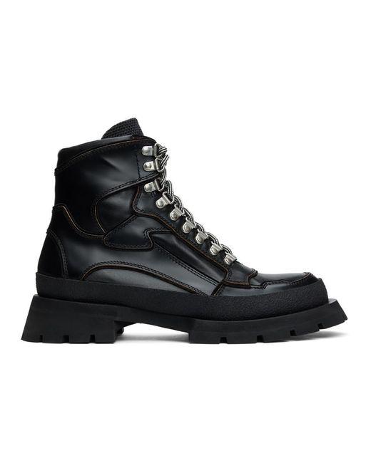 メンズ Jil Sander ブラック レザー レースアップ ブーツ Black