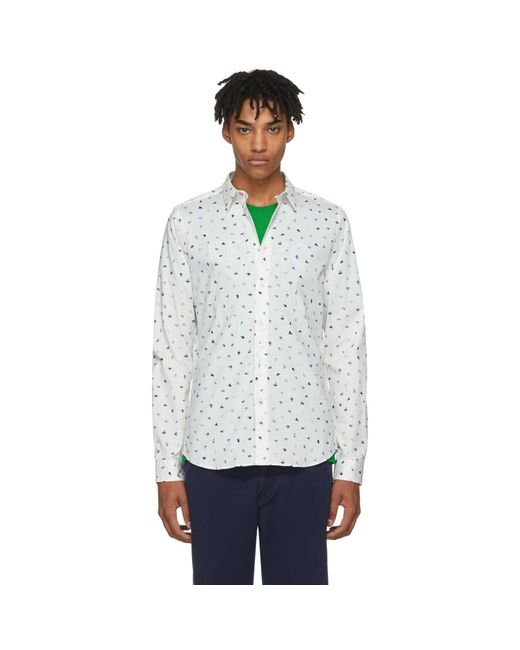 PS by Paul Smith - White Brush Strokes Shirt for Men - Lyst
