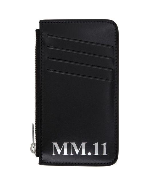 メンズ Maison Margiela ブラック Shiny プルアップ カード ケース Black