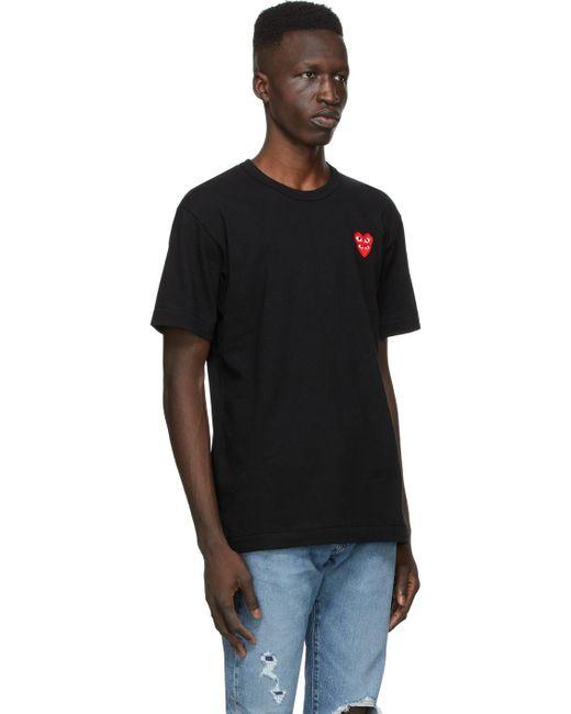 メンズ COMME DES GARÇONS PLAY ブラック レイヤード Double Heart T シャツ Black
