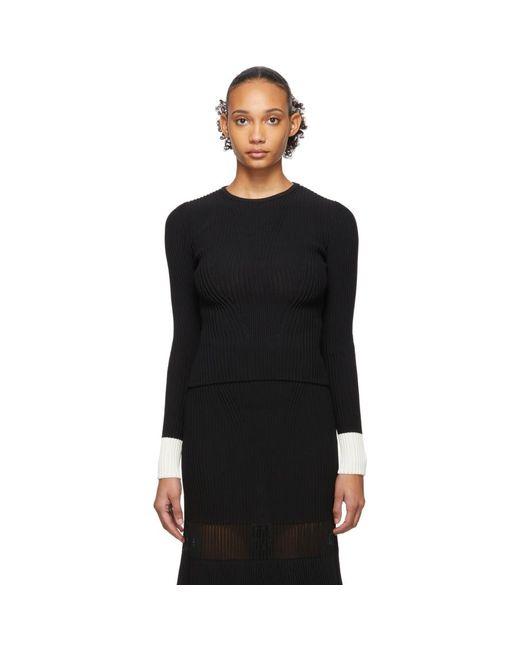 Alexander McQueen ブラック And ホワイト コントラスト カフス セーター Black
