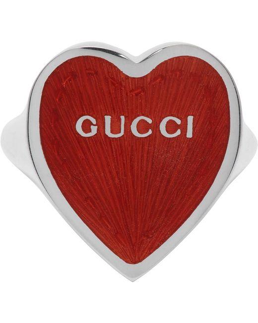 Gucci シルバー & レッド Heart リング Metallic