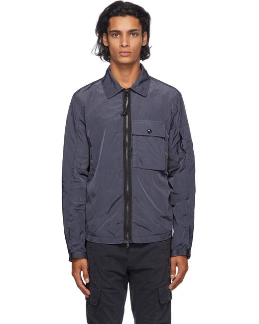 メンズ C P Company ブルー ナイロン カーゴ オーバー シャツ ジャケット Blue
