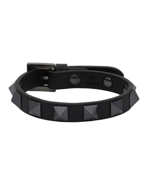 メンズ Valentino Garavani コレクション ブラック Rockstud ブレスレット Black