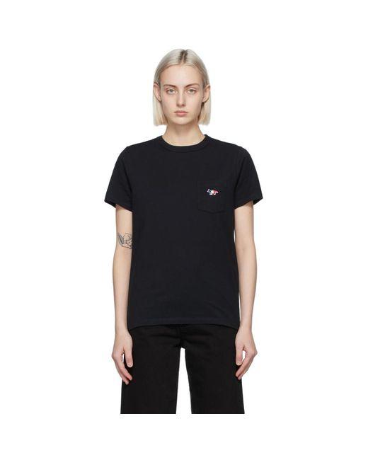 Maison Kitsuné ブラック Tricolor Fox Classic ポケット T シャツ Black