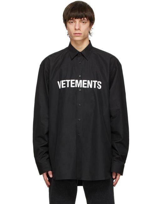 メンズ Vetements ブラック Front ロゴ シャツ Black