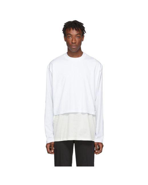 メンズ Givenchy ホワイト オーバーレイヤー ロング スリーブ T シャツ White