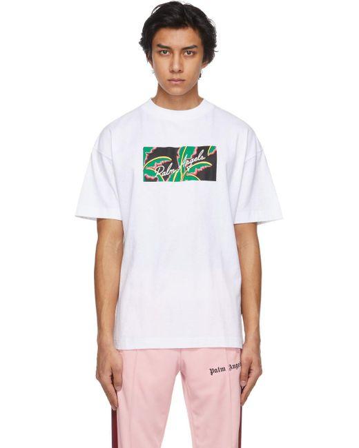 メンズ Palm Angels ホワイト Tropical ロゴ T シャツ White