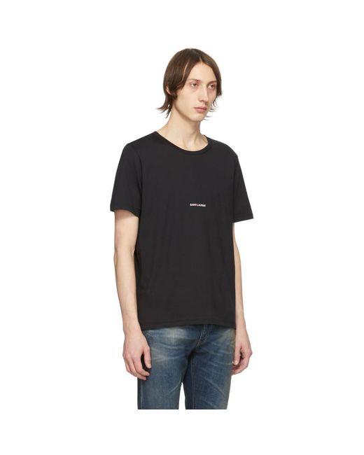 メンズ Saint Laurent ブラック ロゴ T シャツ Black