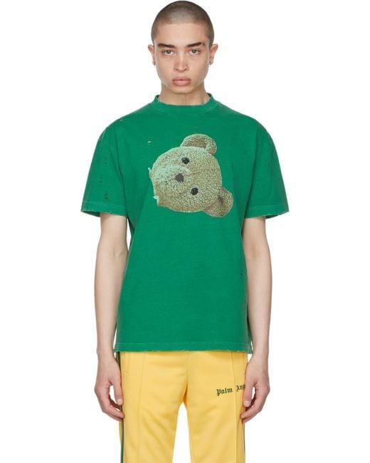 メンズ Palm Angels グリーン Gd Bear Head Classic T シャツ Green
